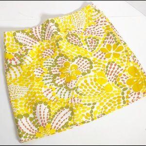 J Crew fit garden linen yellow floral skirt sz 2